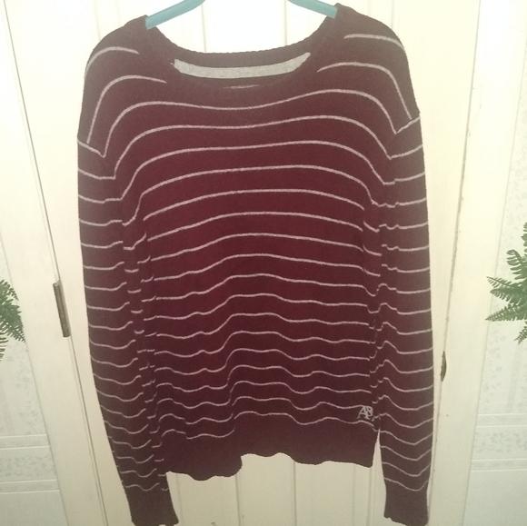 Aeropostale Knit Maroon Striped Sweater - Large